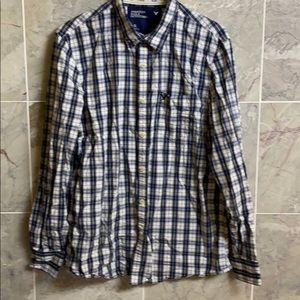 American Eagle Outfitters button plaid blue shirt